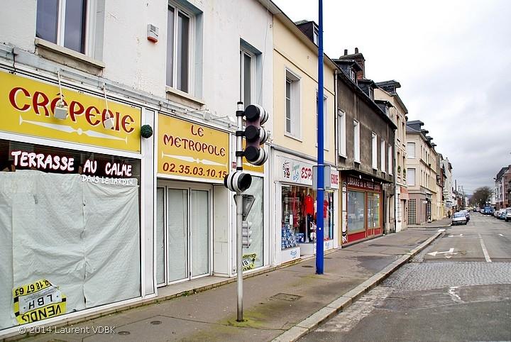 Angle rue Méridienne et place Volaire à Sotteville-lès-Rouen