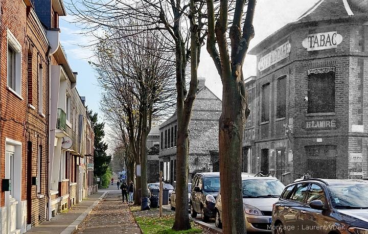 Montage avant/après de la rue de Paris à Sotteville-lès-Rouen