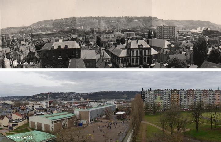 Avant/après panoramique (c)Arlatte Ecole Michelet - Reconstruction - Zone Verte - Espace Marcel Lods - Sotteville-lès-Rouen