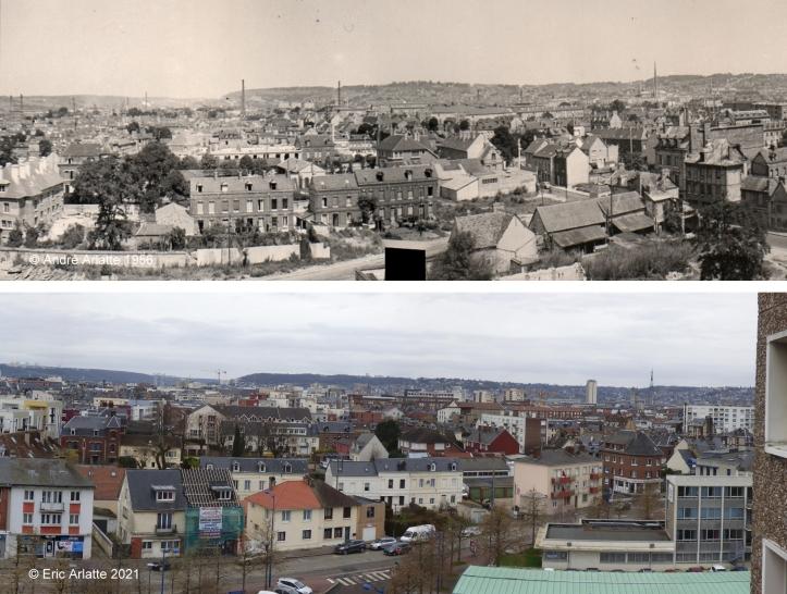 Avant/après panoramique (c)Arlatte Rue Léon Salva - Reconstruction - Zone Verte - Espace Marcel Lods - Sotteville-lès-Rouen