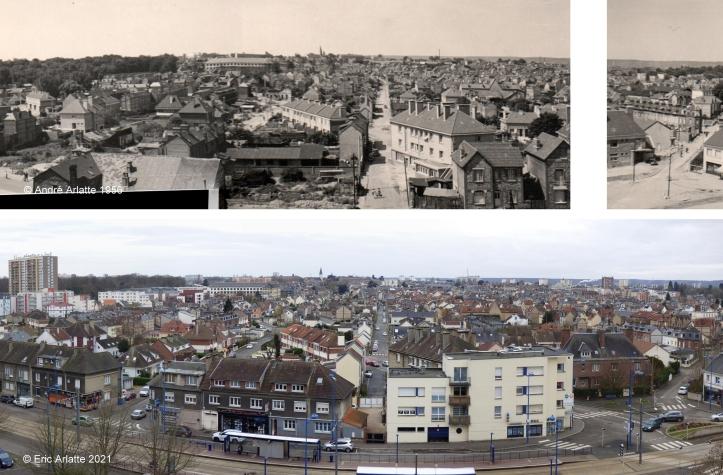 Avant/après panoramique (c)Arlatte Rue Garibaldi et rue Jean Cécille - Reconstruction - Zone Verte - Espace Marcel Lods - Sotteville-lès-Rouen