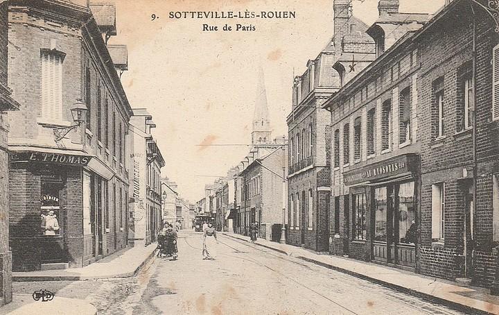 Carte postale ancienne de la rue de Paris à Sotteville-lès-Rouen