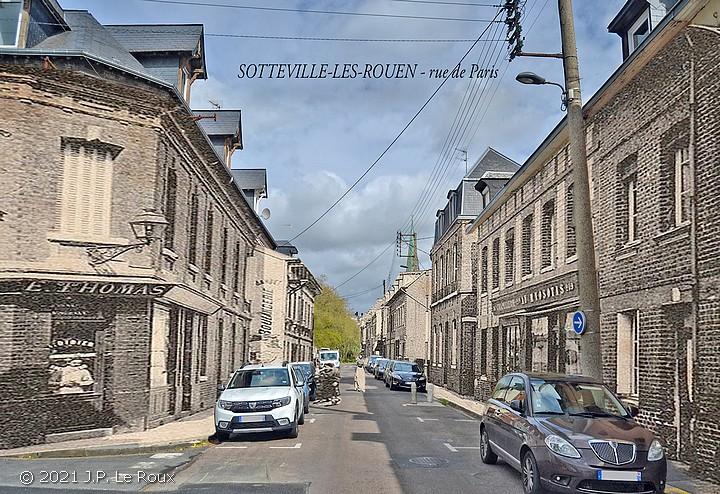 Montage photo de la rue de Paris à Sotteville-lès-Rouen