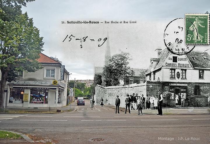 Rephotographie des rues Hoche, Littré et Corneille à Sotteville-lès-Rouen